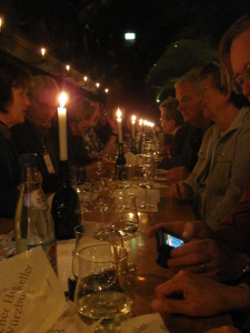 Wine-tasting in the wine cellar of a palace