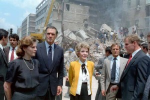 Paloma Cordero, John Gavin, Nancy Reagan review earthquake site