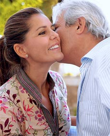 It's customary for men to greet women friends with a kiss on the cheek
