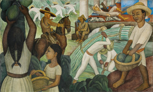 Mural by the legendary Diego Rivera, depicting rural Mexico