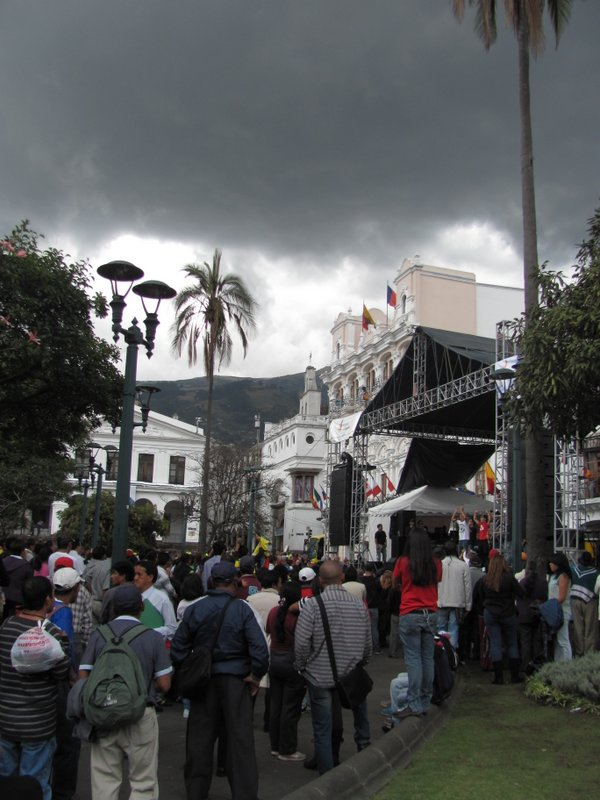 Fiesta in the main plaza, with cumbia band
