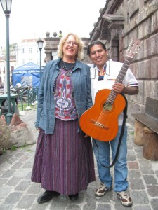 I and the musician who serenaded the lunch crowd at the café