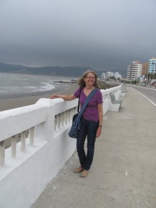 Kathy on the shore promenade in Bahía de Caraquez