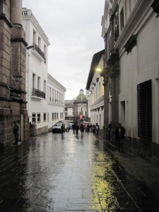 Rain on a typical street in old town Quito