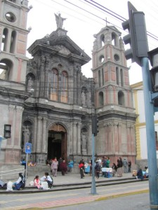 People gathering in front of the cathedral in Otavalo