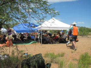 At long rest stops, we also had shade structures set up by the logistics team